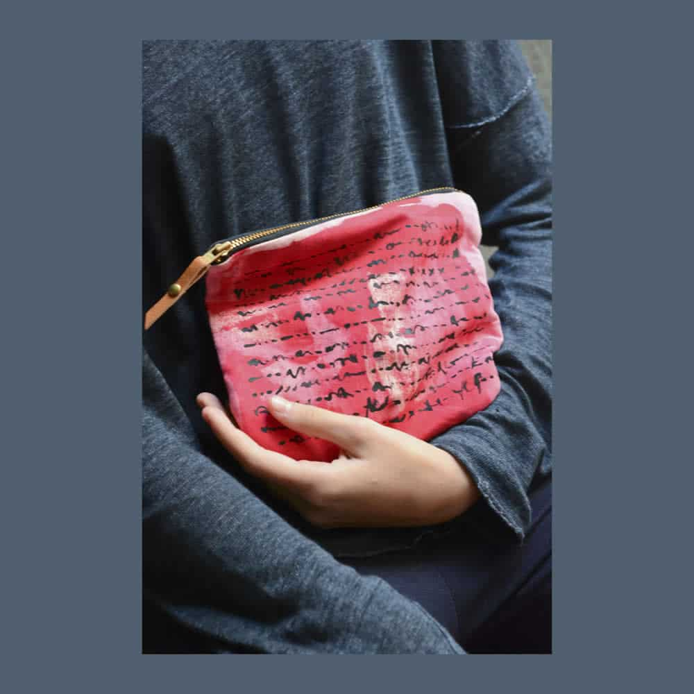Red boho zippered clutch