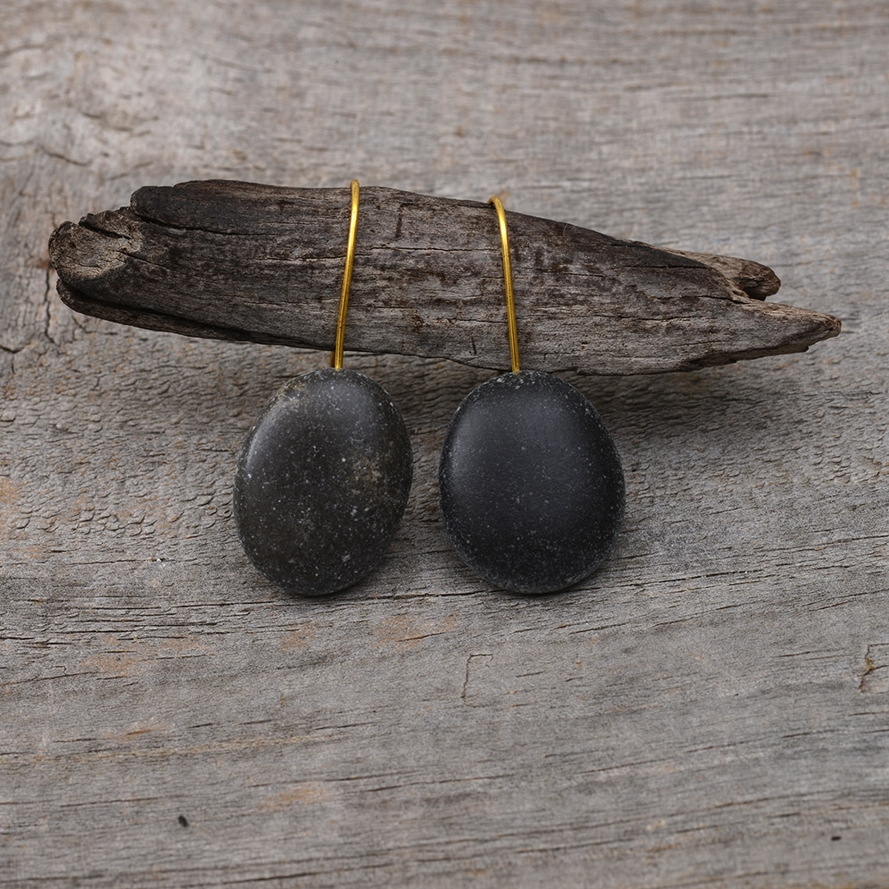 Black dangling earrings, mini beach stone pebble jewellery