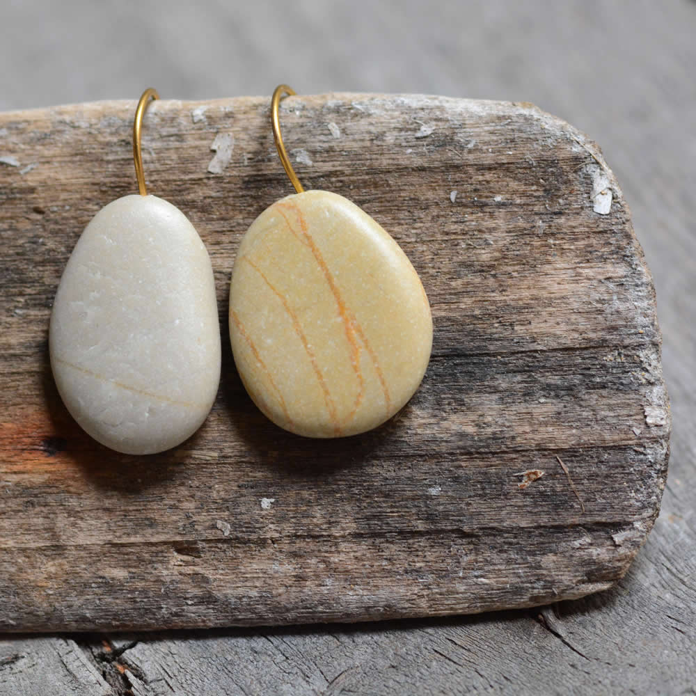 Grey & Beige drop earrings, dangling beach pebble jewellery