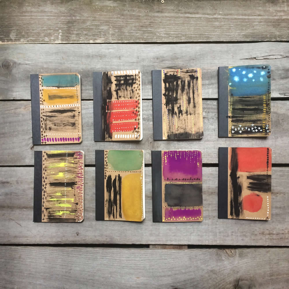 Traveller's Journal with abstract art , small paper notebook