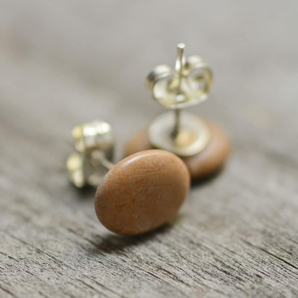 Salmon mini stud earrings, natural stone jewerly, eco accessories