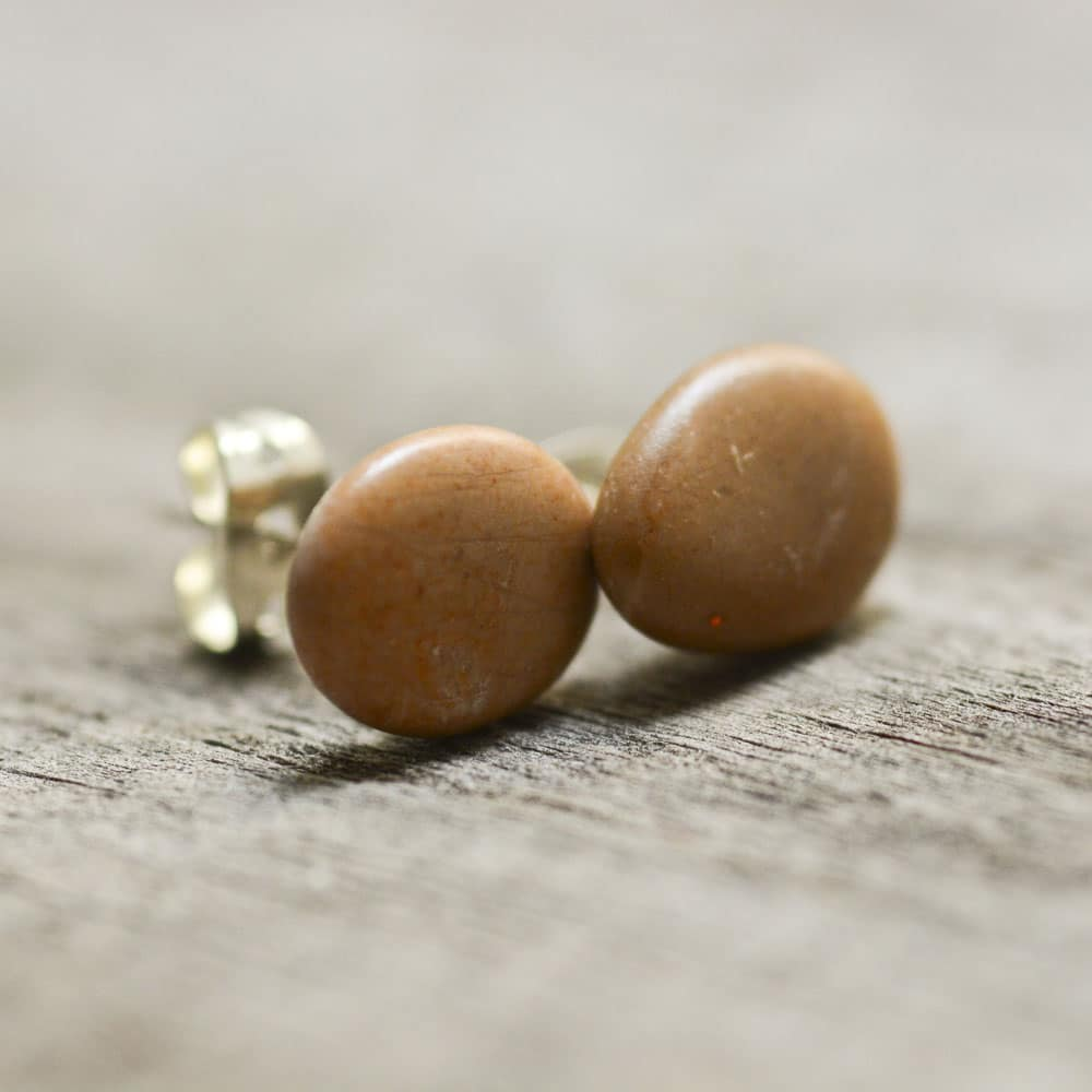 Salmon mini stud earrings, natural stone jewerly, eco accessories