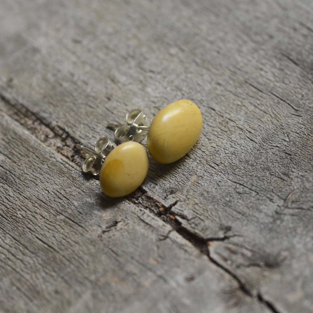 Yellow post earrings, simple jewellery, gift for her