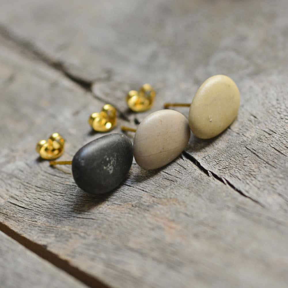 set of three beach pebble earrings