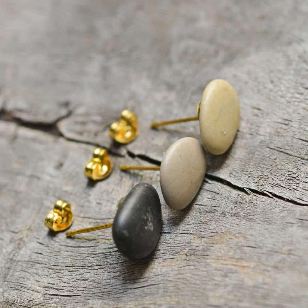 set of three beach pebble earrings