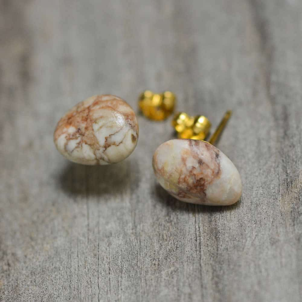 Post earring with pink & red marble veins, eco jewelry