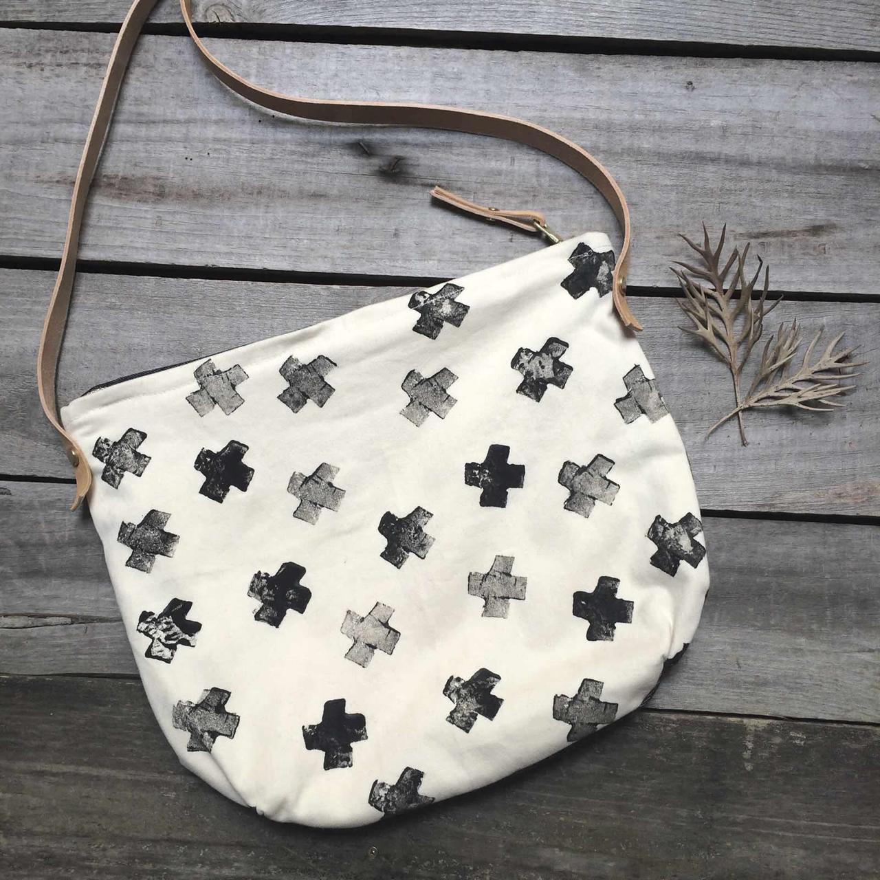 Cross Print Day Bag - Hand Printed