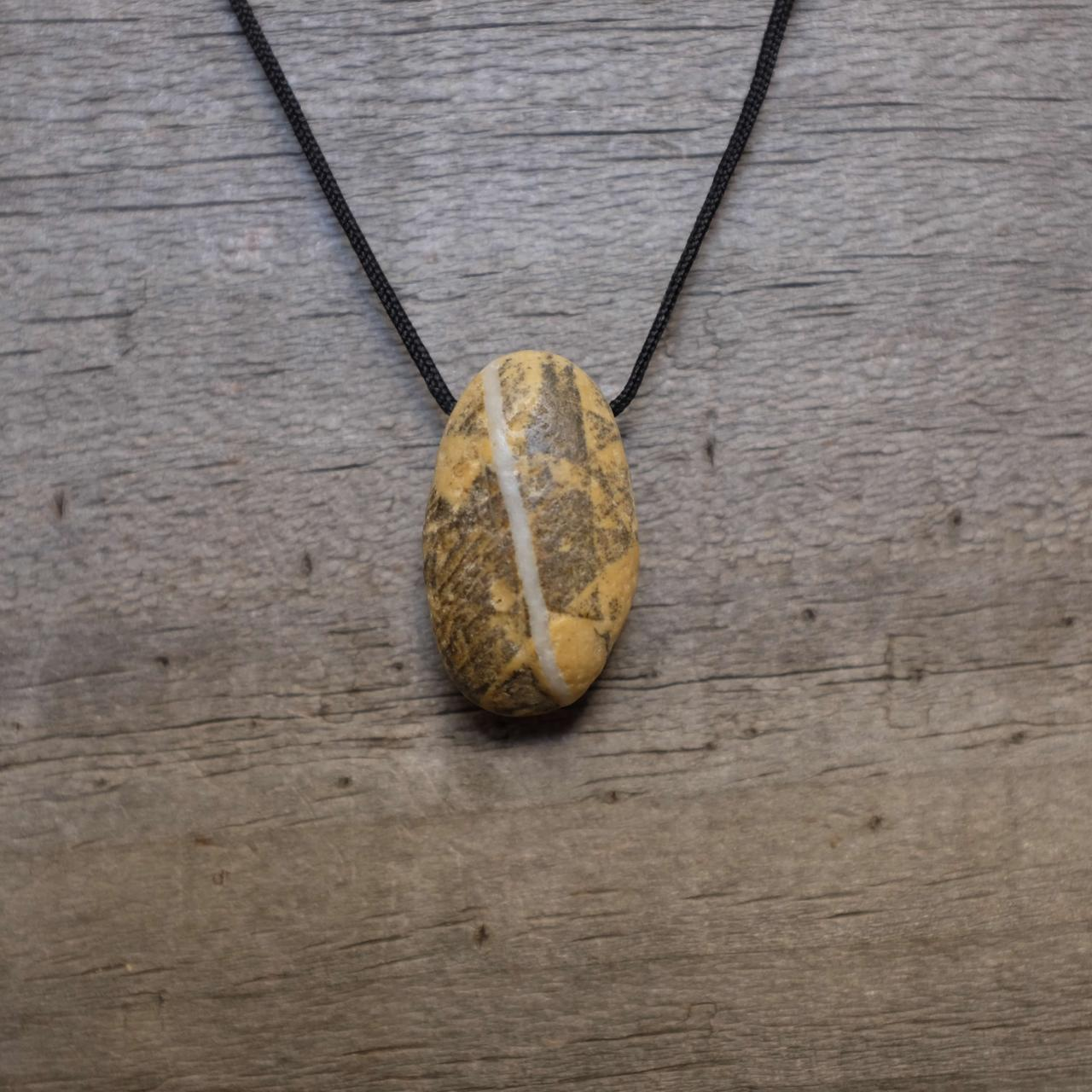 Men's Necklace with tattooed stone