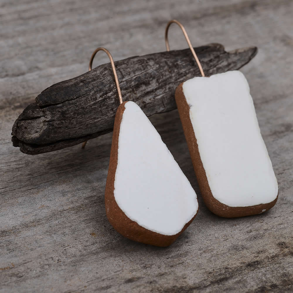 White tile statement earrings
