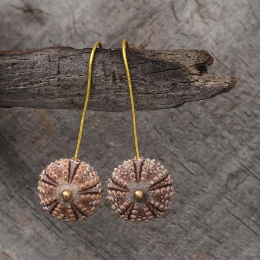 Pink Sea Urchin Drop Earrings